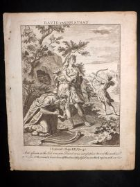 Butley 1762 Antique Religious Print. David and Jonathan